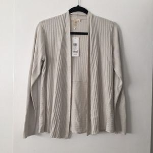 Silk & Organic Cotton Ribbed Open Front Cardigan